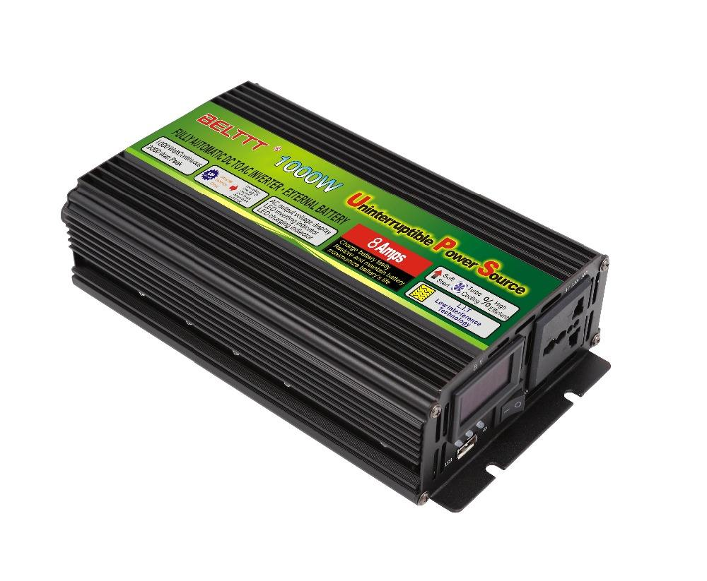 Free shipping 1000Watt UPS modified sine wave inverter with charger 2000watt peak power taiwan model