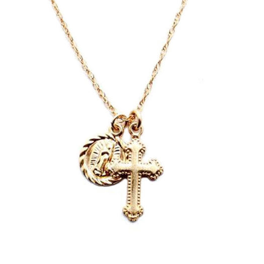 Gemnel 14k gold cross coin jewelry combination necklace jewellery