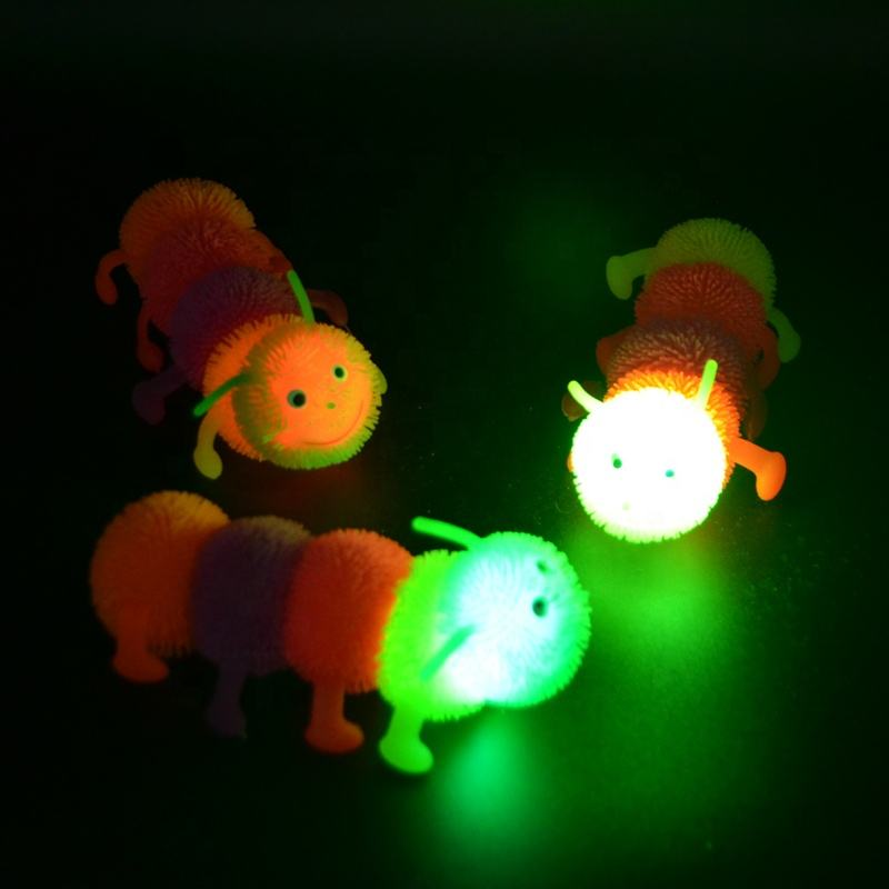 New Five Part Soft Squishy Worm Animal Puffer Ball Led Flashing Caterpillar Toys Outdoor Balls Wholesale