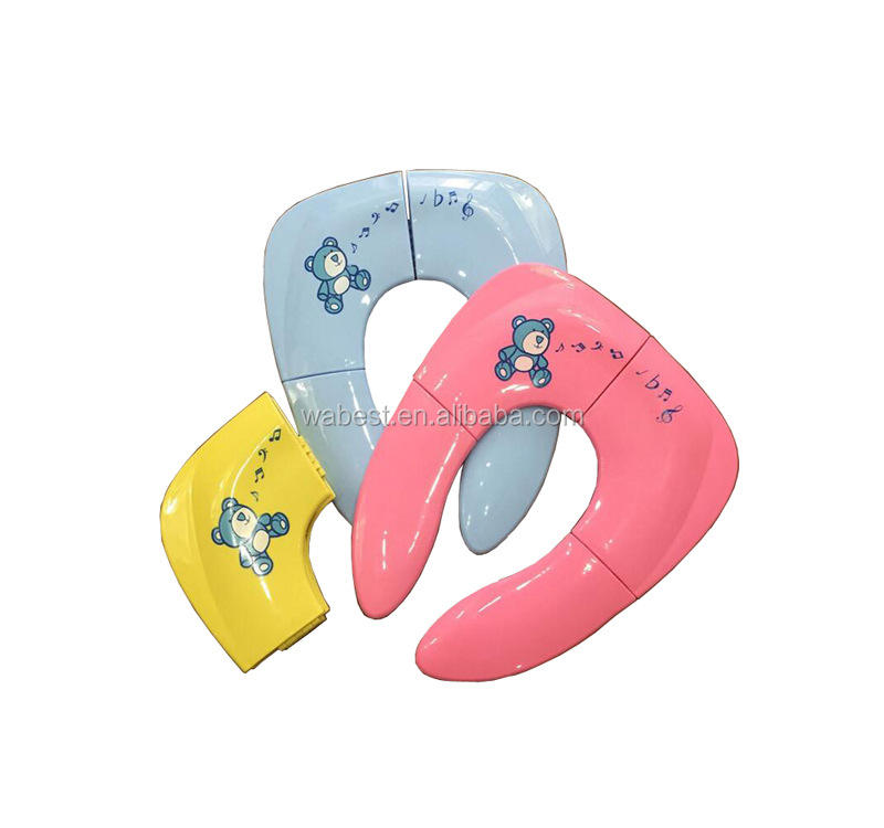 2019 Non Slip Silicone Travel Folding Portable Reusable plastic Potty Training kids toilet Seat cover/Foldable Potty seat