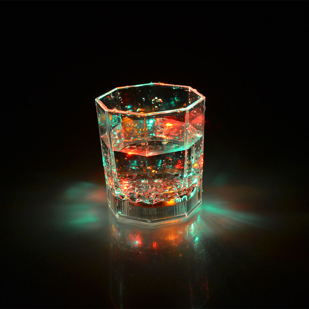 Custom Logo Liquid Induction Luminous Flashing Light Up Octagonal Led Cup Glow In The Dark