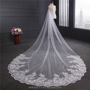 wholesale new grance long lace bridal wedding veilwhite one-layer bell flower wedding lace veil Fashionable long Tulle HL26