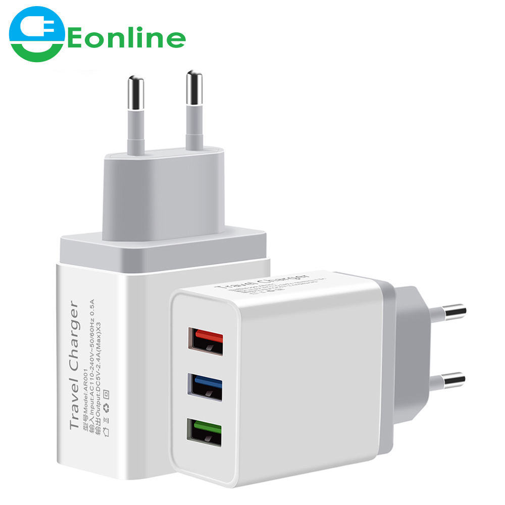 Universal 5V 2.4A 3 USB Travel Charger Adapter Wall Portable EU Plug Mobile Phone Smart Charger for iPhone XS Max X iPad Tablet