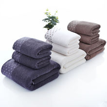 Wholesale Blue and Gray Cotton Luxury Towel Dobby bath towel gift set