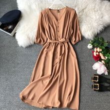 Boho Sexy Summer Dress Women Casual Button Beach Party Elegant Mid Calf Dresses V Neck Short Sleeve Vestidos E18079