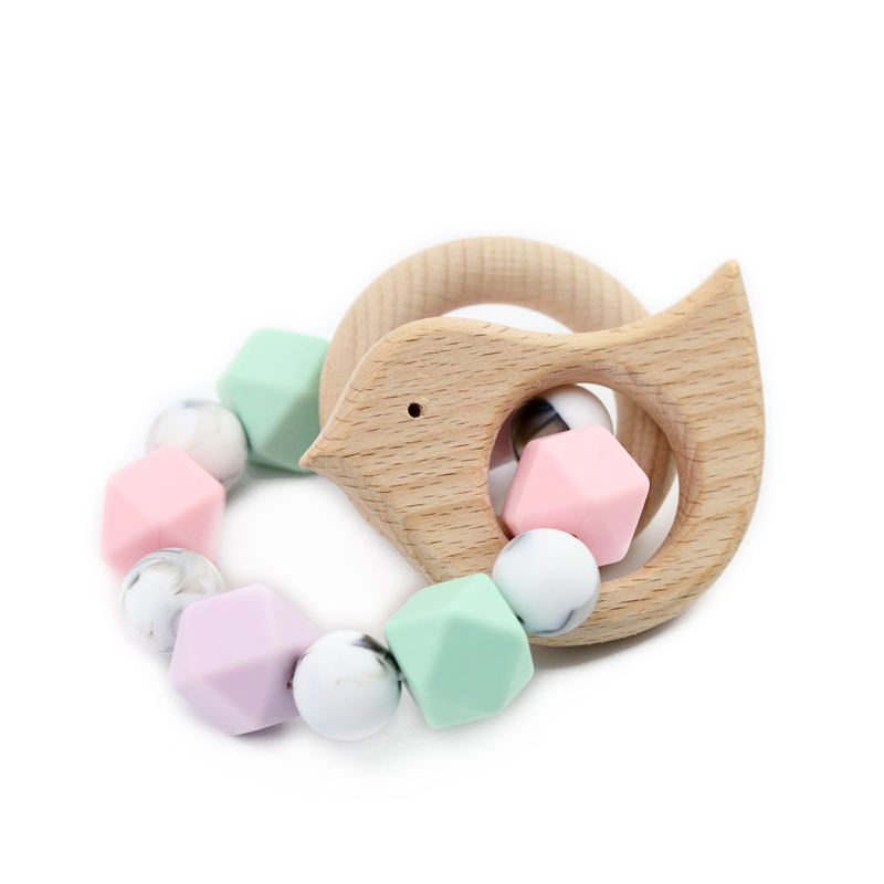 BPA Free Baby Teether Shower Gift Silicone Teether with Wooden Ring Rattles Baby Silicone Teething Bracelet