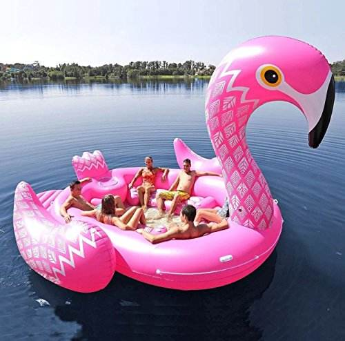 2019 New Arrival Hot Selling Inflatable Big Flamingo Lake Float boat Seats Up to for 6 Adults for Party