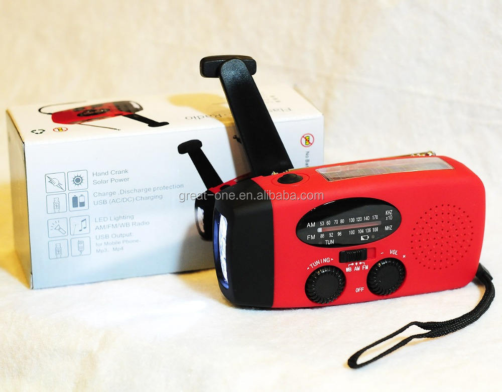 AM/FM emergency solar hand crank noaa weather band radio and cell phone charger