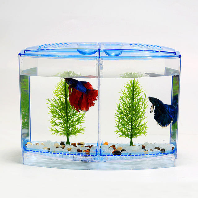 Acrylic Double Betta Aquarium Bowl Fighting Fish Mini House Incubator Box For Fry Isolation Hatchery Reptile Cage Turtle House