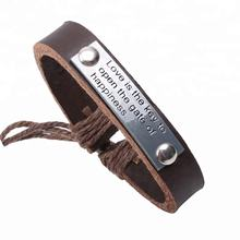 Wholesale LOVE IS THE KEY TO THE HAPPINESS engraved alloy genuine leather inspirational bracelet