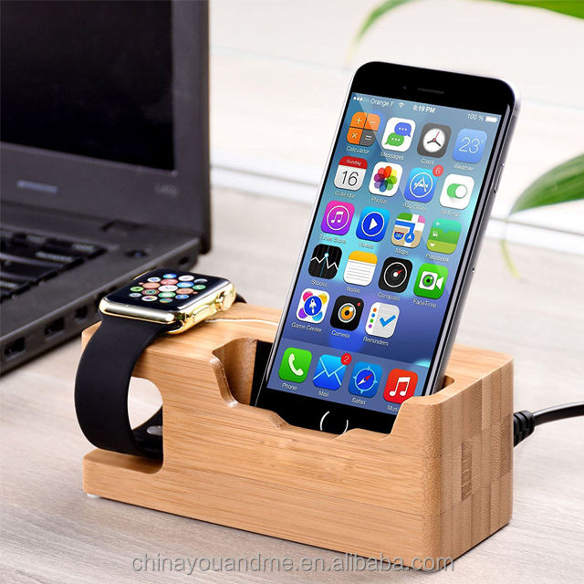 Public mobile phone charging station wooden charging station dock