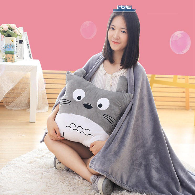 wholesale flannel cartoon cute embroidery sofa car chair foldable 2 in 1 pillow and cushion inside blanket