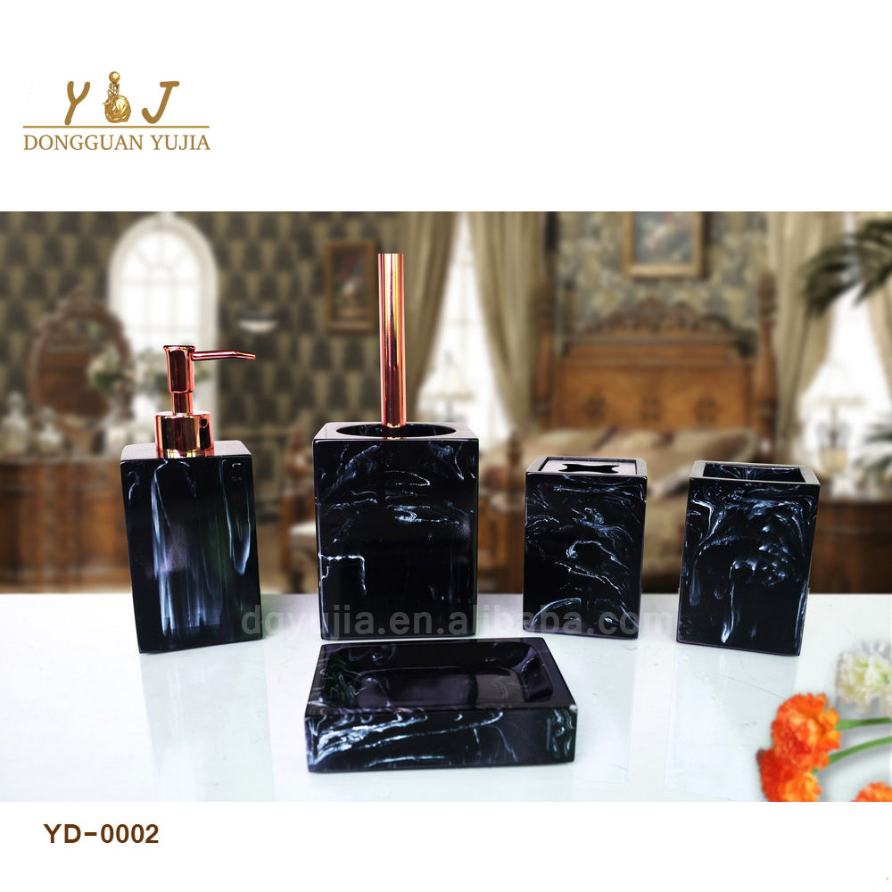 Black Marble Resin Bathroom Accessories Set Bathroom Ware