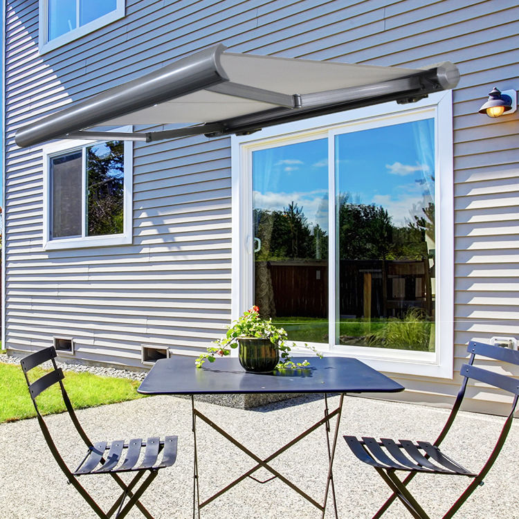 Full cassette aluminum alloy frame electric motorized automatical retractable awning