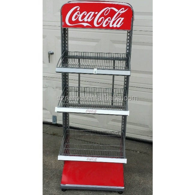 floor standing beverage display rack Cola display stand racks cooler