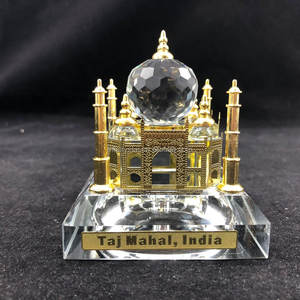 Kristal 24 K Altın Kaplama Light up Taj Mahal Ev Dekoratif Model MH-G0451