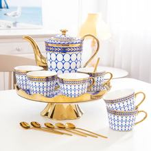 High Quality European Luxury Rotary Tea tray Ceramic Afternoon Tea Coffee Cup Household Teapot Set