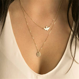 Choker Necklace Silver Fashion Chain Beads Metal Discs Jewelry Pendants Multi Layer Necklace Women Gold Necklaces