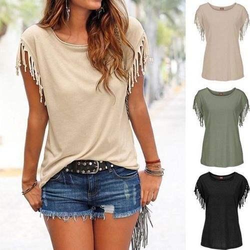 Fashion Women Fringe sleeve Clothing Wholesale Tunic Tops