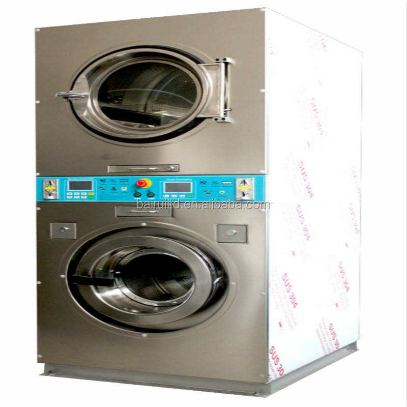 12kg stackable coin operated washing machine and LPG gas dryer for laundromat ready to ship