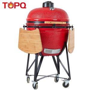 Chian manufacturer TOPQ 25 inch XL large rotating clay oven vertical bbq kamado outdoor ceramic grill