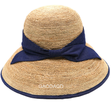 Delicate crochet natural raffia hat sun protect summer bucket hat
