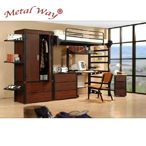 Twin full queen size wood steel school dormitory loft twin bed with cabinet with desk with wardrobe university bunk bed