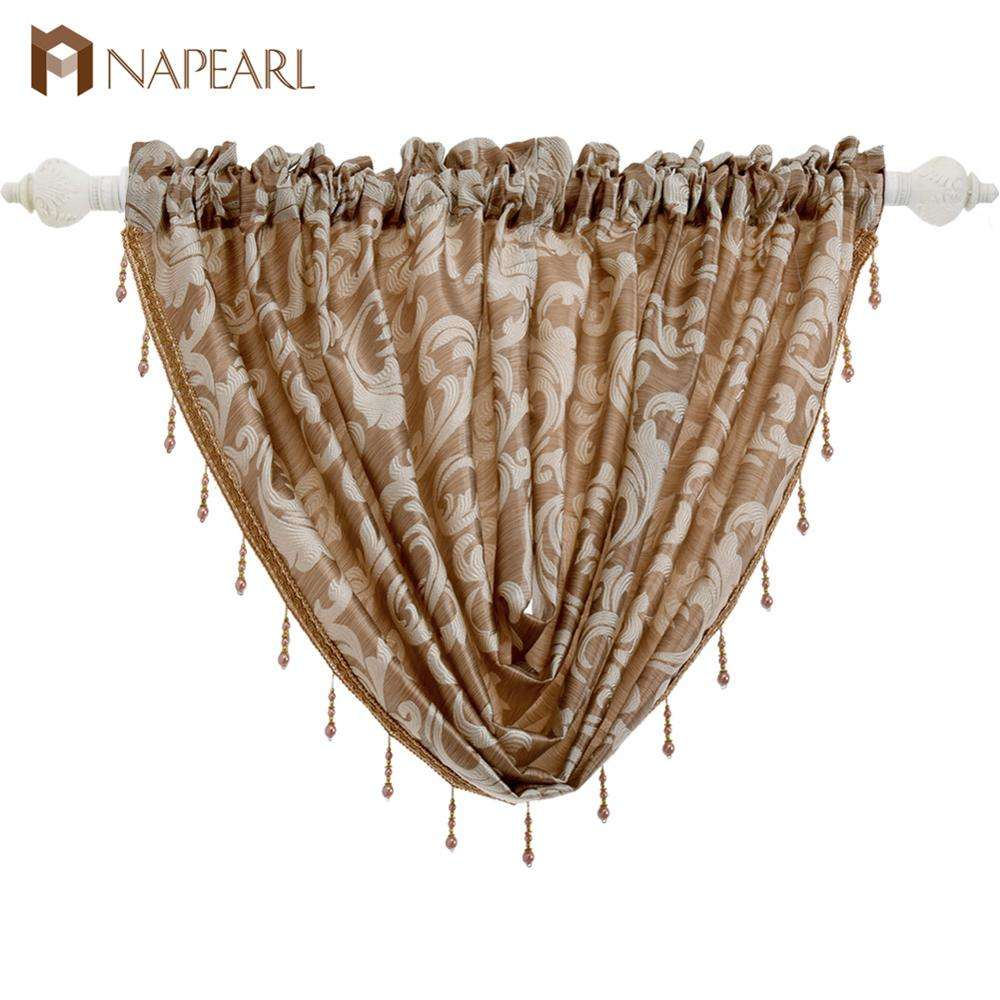 Super September jacquard design window curtain beaded valance