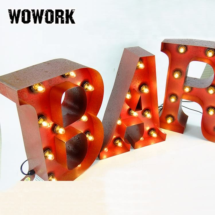 WOWORK 2020 new arrivals las vegas marquise 3D DIY ferro led light up bar café Do Vintage carta sinal para restaurante frente