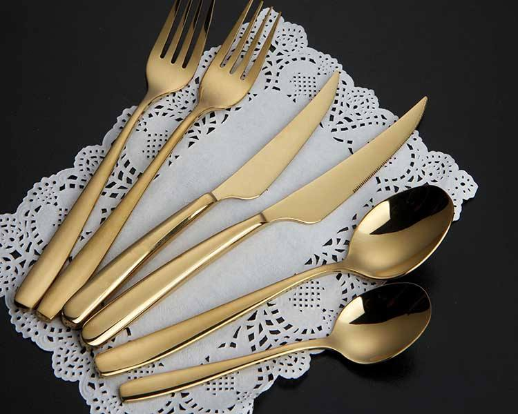 OEM/ODM gold plated cutlery, gold cutlery set, gold plated flatware wholesale for wedding event restaurant