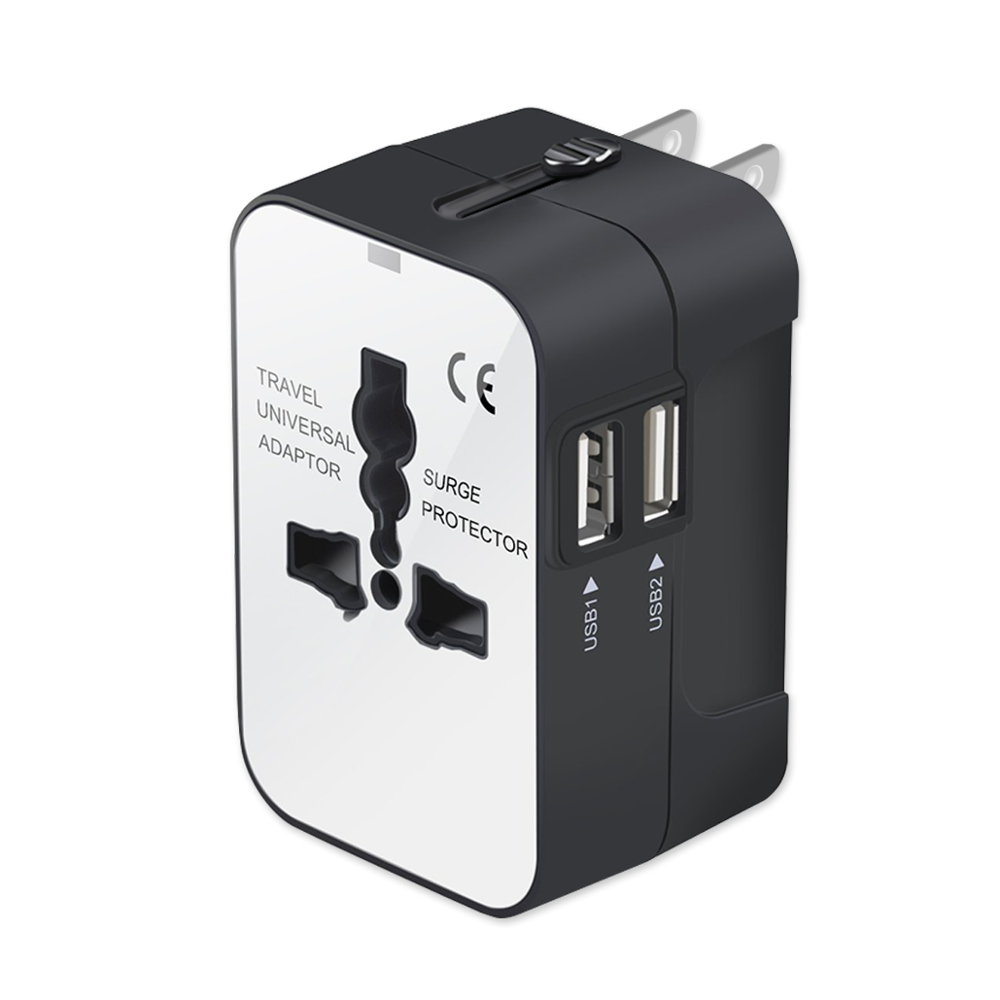 Universal All in One Worldwide Travel Adapter Wall Charger AC Power with Dual USB Charging Ports for USA EU UK AUS