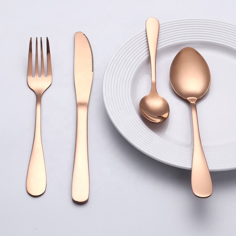 Luxury full stainless steel rose gold cutlery set knife spoon fork
