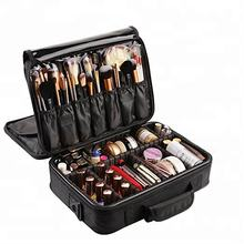 3 Layers Waterproof Makeup Bag Travel Cosmetic Case Brush Holder with Adjustable Divider- soft cosmetic case supplier