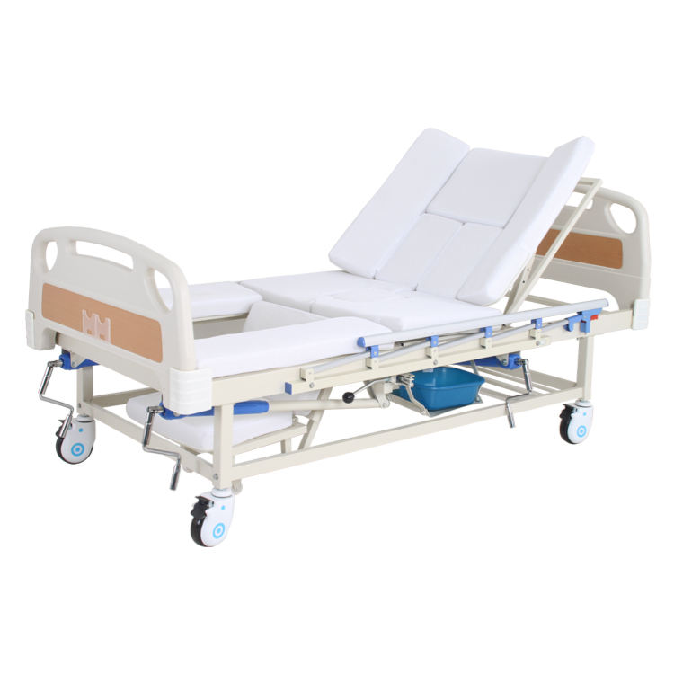 Cheap price patient aluminum alloy 3 crank manual hospital medical equipment bed with with toilet for sale