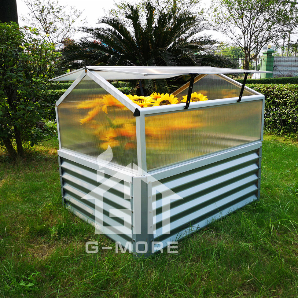 G-MORE vegetable gardening metal raised bed with cold frame greenhouse