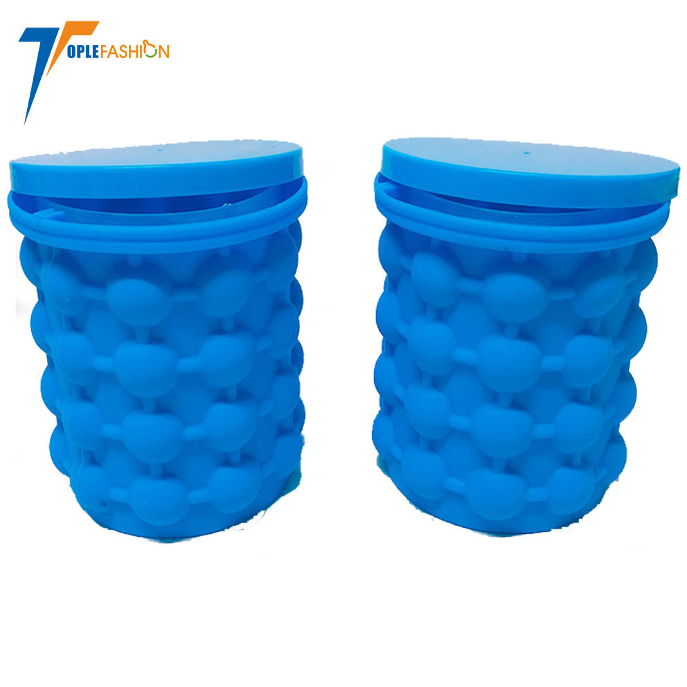 amazon hot sell Recolutionary Space Saving silicone ice cube maker bucket with lid