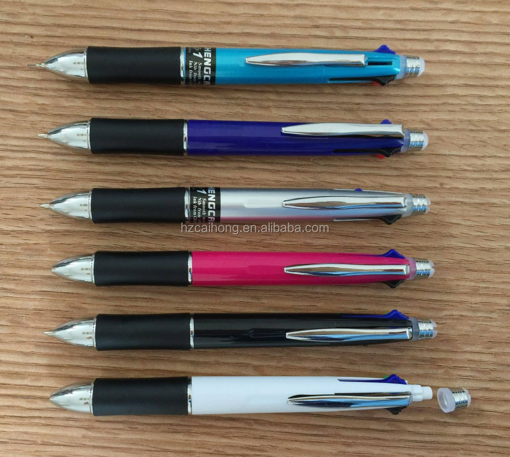 4 color Ball Point Pen+pencil+eraser,Click button, school&office usage , 5 in 1 function CH7521