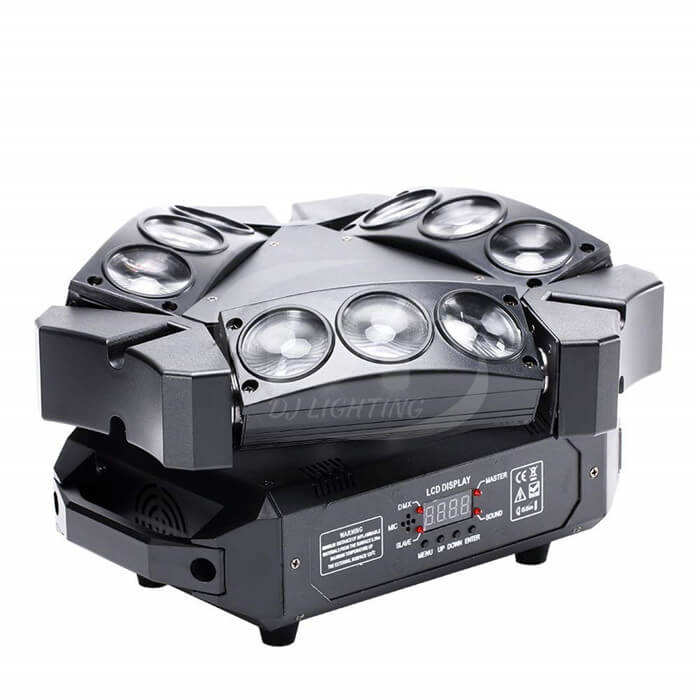 Spider Moving Head Light, DT Lighting 9 Leds Heads X 10W RGB Stage Lighting Effect 12/19 Channels DMX-512 And Sound Activated
