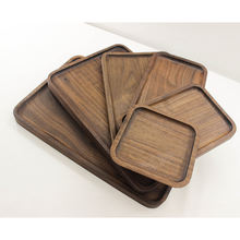 Solid wood personalized Black Walnut Valet Tray With Breakfast Caddy / Serving Tray / Tea Tray