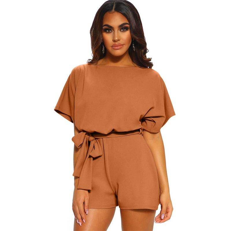 Hot Fashion Over The Top Belted Playsuit Female Romper Jumpsuit