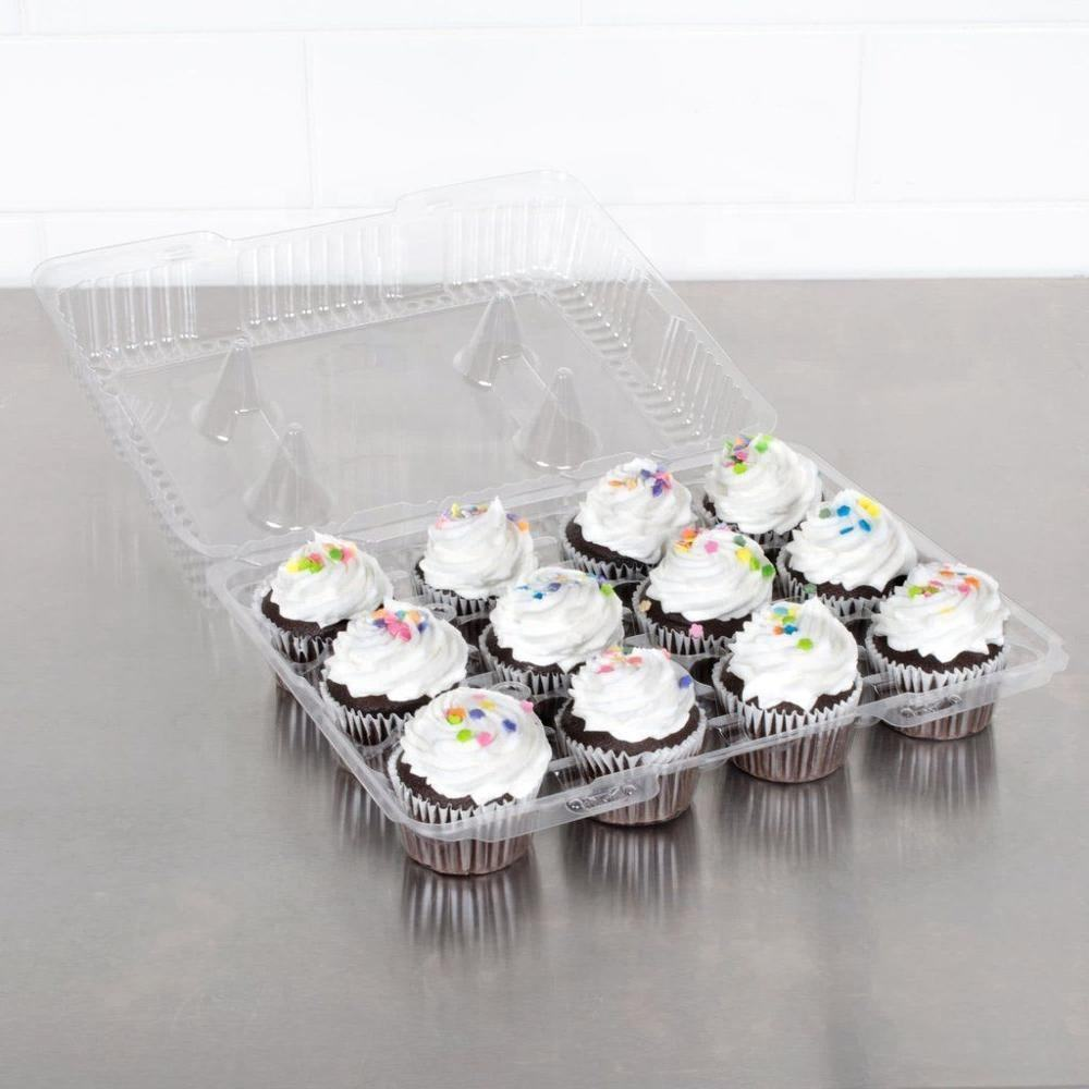 12 Compartment PET Clear Hinged Plastic Cupcake Takeout Container Clamshell Shape