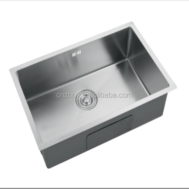 Handmade Single Bowl Brushed Undermount Round Angle Kitchen Stainless Steel Sink