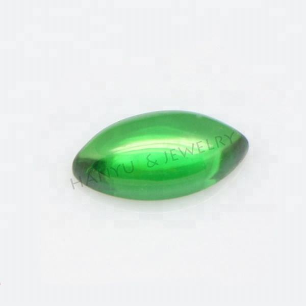 Wuzhou loose stone 4*6mm wholesale marquise cut green cz cabochon