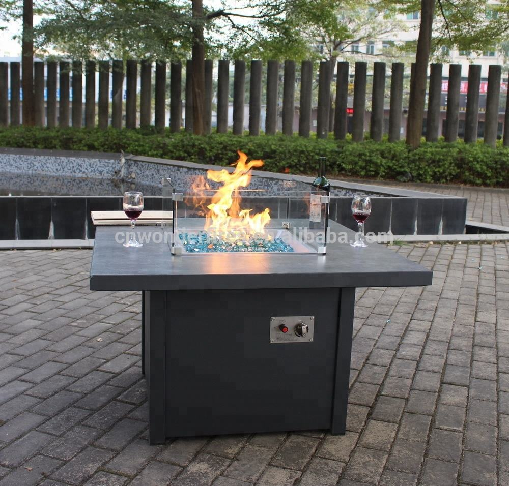 square Outdoor tile top fire pit tables with stainless steel drop-in pans,55000BTU outdoor heater