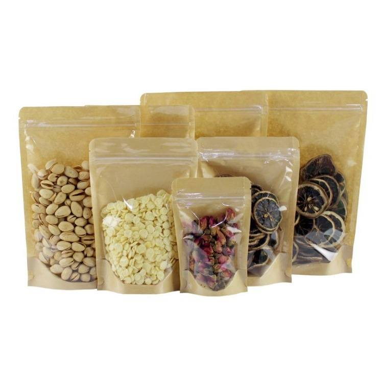 front side clear Resealable Heat Seal Zipper lock Bags Stand Up Pouch Biodegradable Kraft Paper Zip Lock Bag