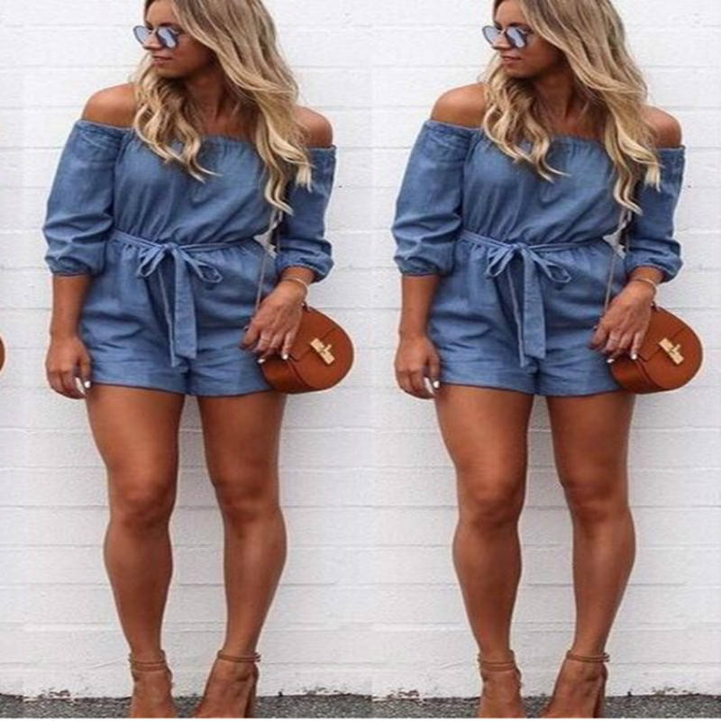 Hot Fashion 2018 Zomer Vrouwen v-hals Clubwear Off Schouder Mini Playsuit Sexy Bodycon Party Jumpsuit Broek Romper