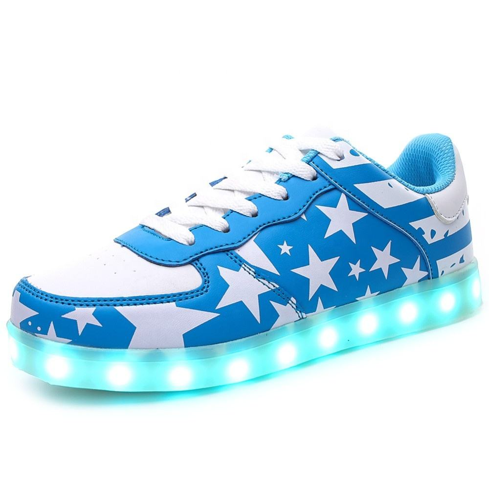 EM6011 USB Charging 7 colors US American flag kids and adult led light shoes