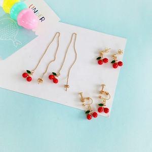 Sweet Cute Small Cherry Earrings Enamel Oil Eardrop Fashionable Girl Long Earrings Stud Ear Clips