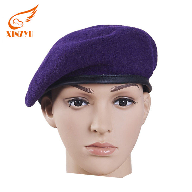 Custom Embroidery Badge Purple Wool Beret Army Military Beret Hats