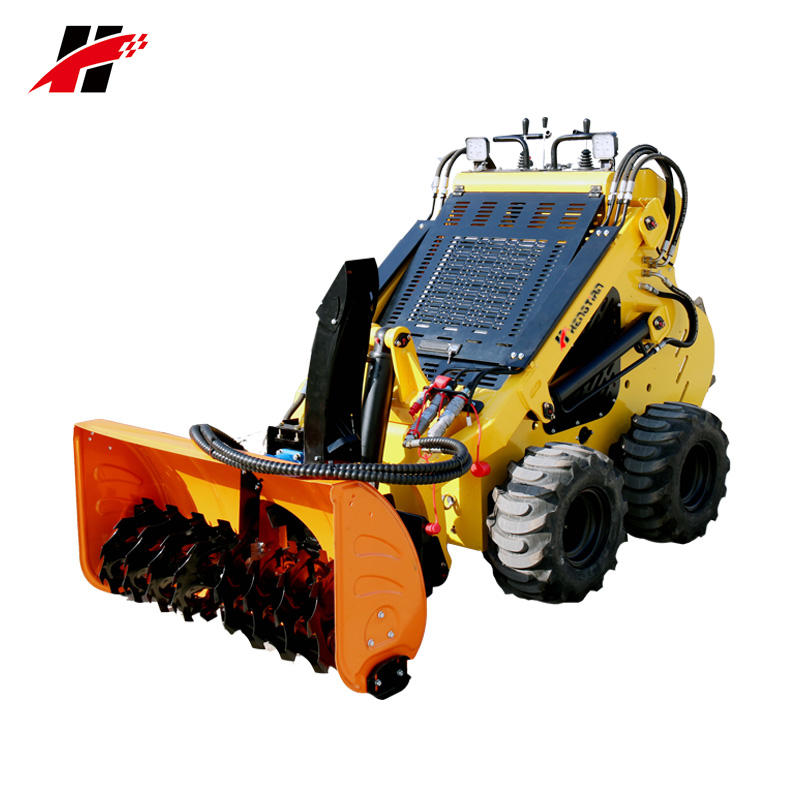 China wheeled mini skid steer loader with electric control snow blower attachment for sale